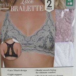 Felina Women's Lace Bralette 2-Pack, Pink / White